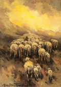 Fine Art - Painting, American:Modern  (1900 1949)  , ALICE THOMPSON (American, 20th Century). Herding Sheep. Oilon board. 6-1/2 x 10 inches (16.5 x 25.4 cm). Signed lower l...
