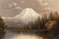 Fine Art - Painting, American:Other , ELIZA ROSANNA LAMB BARCHUS (American, 1857-1959). Mount Hood atNightfall. Oil on canvas. 16 x 24 inches (40.6 x 61.0 cm...