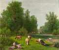 Fine Art - Painting, American:Other , BARTON STONE HAYS (American, 1826-1914). Cows Grazing. Oilon canvas. 27 x 32 inches (68.6 x 81.3 cm). Signed lower cent...