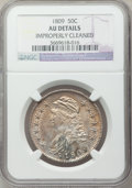 Bust Half Dollars: , 1809 50C Normal Edge -- Improperly Cleaned -- NGC Details. AU. NGC Census: (31/499). PCGS Population (54/226). Mintage: 1,4...
