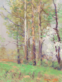 DAWSON DAWSON-WATSON (British/American, 1864-1939) Forest Scene, 1915 Oil on canvasboard 14-1/2 x