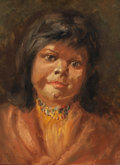 Fine Art - Painting, American:Modern  (1900 1949)  , ELBRIDGE A. BURBANK (American, 1858-1949). Portrait of an IndianGirl. Oil on board. 12 x 9 inches (30.5 x 22.9 cm). Sig...