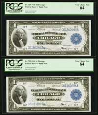 Fr. 729 $1 1918 Federal Reserve Bank Note Cut Sheet of Four PCGS Choice New 63-Very Choice New 64