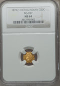 California Fractional Gold: , 1872/1 50C Indian Octagonal 50 Cents, BG-937, High R4, MS64 NGC.PCGS Population (25/7). ...