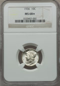 1936 10C MS68★ NGC. NGC Census: (4/0 and 4/0*). PCGS Population: (9/0 and 4/0*). Mintage 87,504,128. ...(PCGS# 4998)