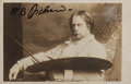 """Miscellaneous:Postcards, Sir William Blake Richmond. SIGNED Postcard Photograph. 5.5"""" x3.5"""". Toned. One inch scab at verso. Stamped and postmarked. ..."""