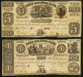 Canadian Currency: , Bath, UC- Free Holders Bank of the Midland District $1 1837 Remainder Ch. # 310-10-02R and $5 1840 Remainder Ch. # 310-10-0... (Total: 2 notes)