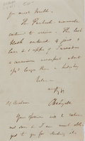 "Miscellaneous:Ephemera, Charles Lyell. Autograph Letter Signed. Single page. 4.25"" x 7"". March Eight, 1857. Letter toned. Light edgewear. Very good...."