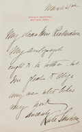 "Miscellaneous:Ephemera, Kate Sanborn Autograph Letter Signed. 5"" x 8"". March 5, 1902.Letter regarding her autograph. Toned. Creased at upper le..."