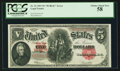 """Large Size:Legal Tender Notes, Fr. 91 $5 1907 """"PCBLIC"""" Error Legal Tender PCGS Choice About New 58.. ..."""