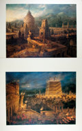 """Books:Prints & Leaves, Antonio Basoli (1774-1848), artist. Pair of Prints """"America"""" and """"Asia"""", Printed and Published in Italy. 23.5"""" x 19.75"""". Pri..."""
