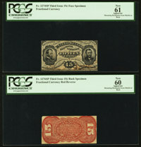 Fr. 1274SP 15¢ Third Issue Narrow Margin Pair PCGS New 60 and New 61 Apparents