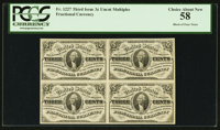 Fr. 1227 3¢ Third Issue Block Of Four PCGS Choice About New 58