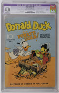 Golden Age (1938-1955):Cartoon Character, Four Color #9 Donald Duck Finds Pirate Gold (Dell, 1942) CGCApparent VG 4.0 Moderate (A) Cream to off-white pages. Revered ...