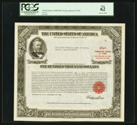 Serial Number 4 $100,000 United States Treasury Bond Due August 15, 1963 PCGS New 62