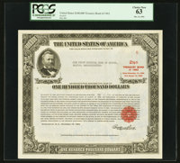 Serial Number 5 $100,000 United States Treasury Bond Due August 15, 1963 PCGS Choice New 63