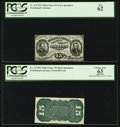 Fr. 1272SP 15¢ Third Issue PCGS Apparent Choice New 63 and New 62. Narrow Margin Face/Back Specimen Pair