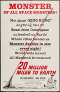 "Movie Posters:Science Fiction, 20 Million Miles to Earth (Columbia, 1957). One Sheet (27"" X 41"")Style B & Title Lobby Card (11"" X 14""). Science Fiction.. ...(Total: 2 Items)"