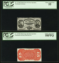 Fr. 1274SP/1276SP 15¢ Third Issue PCGS Choice About New 55 Choice About New 58PPQ Narrow Margin Face/Back Specimen...
