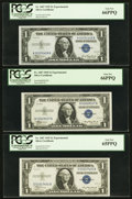 Small Size:Silver Certificates, Experimental Set Fr. 1607 $1 1935 Silver Certificates PCGS Graded.. ... (Total: 3 notes)