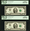 Error Notes:Mismatched Serial Numbers, Fr. 1935-B $2 1976 Federal Reserve Notes. PCGS Gem New 66PPQ and65PPQ.. ... (Total: 2 notes)