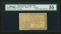 Colonial Notes:Pennsylvania, Pennsylvania April 10, 1777 1s PMG About Uncirculated 55.. ...