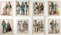 """Books:Prints & Leaves, Lot of Eight Hand-Colored German Lithograph Illustrations FeaturingSoldiers. Uniformly matted to an overall size of 8.75"""" x..."""