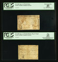 Colonial Notes:North Carolina, North Carolina April 2, 1776 $1/2 Hunter, Dog and Target PCGS Apparent Fine 15; North Carolina April 2, 1776 $5 Triton PCGS Ap... (Total: 2 notes)