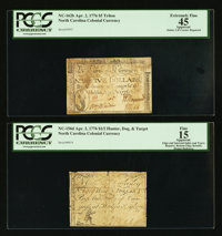 North Carolina April 2, 1776 $1/2 Hunter, Dog and Target PCGS Apparent Fine 15; North Carolina April 2, 1776 $5 Triton P...