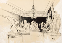 JOSEPH PENNELL (American, 1857-1926) Corcoran Sculpture Gallery Pen, ink and wash on paper 8-7/8