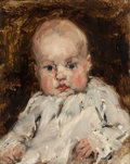 Paintings, JOSEPH FRANK CURRIER (American, 1843-1909). Baby in a White Shirt. Oil on panel. 7 x 5-3/8 inches (17.8 x 13.7 cm). TH...