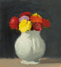 Paintings, ROBERT KULICKE (American, 1924-2007). Still Life of Flowers in a White Porcelain Vase, 1971. Oil on board. 7-1/2 x 7 inc...