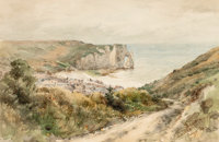 JAMES DAVID SMILLIE (American, 1833-1909) The Cliffs at Etretat, 1884 Watercolor on paper 6-3/4 x