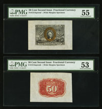 Fr. 1314SP 50¢ Second Issue Wide Margin Pair PMG About Uncirculated 55 and 53