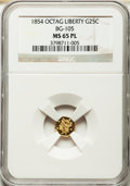 California Fractional Gold: , 1854 25C Liberty Octagonal 25 Cents, BG-105, R.3, MS65 ProoflikeNGC. NGC Census: (6/4). ...