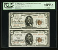 National Bank Notes:Kansas, Courtesy Autographed Colby, KS - $5 1929 Ty. 2 The Thomas County NB Ch. # 13076 Uncut Pair. ...