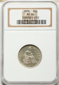 Proof Seated Quarters: , 1876 25C PR64 NGC. NGC Census: (49/53). PCGS Population (45/25).Mintage: 1,150. Numismedia Wsl. Price for problem free NGC...