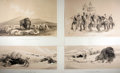 """Books:Prints & Leaves, [American Indians] Lot of Four Sepia Lithograph Prints FeaturingNative American Scenes After Works by George Catlin. 17.75""""..."""