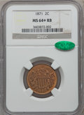 Two Cent Pieces: , 1871 2C MS64+ Red and Brown NGC. CAC. NGC Census: (61/63). PCGSPopulation (117/28). Mintage: 721,250. Numismedia Wsl. Pric...
