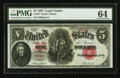 Large Size:Legal Tender Notes, Fr. 88 $5 1907 Legal Tender PMG Choice Uncirculated 64.. ...