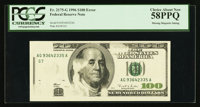Fr. 2175-G $100 1996 Federal Reserve Note. PCGS Choice About New 58PPQ