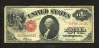Fr. 37 $1 1917 Legal Tender Fine. A $1 1917 Legal Tender with some heavier folds on the back indicating it may have been...