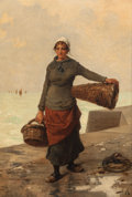 Fine Art - Painting, European:Modern  (1900 1949)  , PIERRE-MARIE BEYLE (French, 1838-1902). Woman Walking onPier. Oil on craddled panel. 22-1/2 x 16-1/2 inches (57.2 x41....