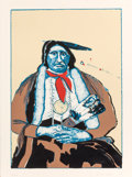 Prints, FRITZ SCHOLDER (American, 1937-2005). Indian with Feather Fan (first state), 1975. Color lithograph. 29-3/4 x 22-1/4 inc...