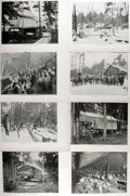 Books:Prints & Leaves, Lot of Eight Black and White Photographic Illustrations Featuring Scenes From an American Late 19th Century Lumber Camp. 11....