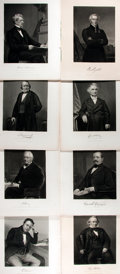 """Books:Prints & Leaves, Lot of 8 Engraved Portraits of Eminent European and American Men, Circa 1870. 8.5"""" x 11.25"""". Removed from a larger volume. V..."""