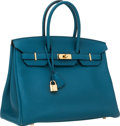Luxury Accessories:Bags, Hermes 35cm Blue Cobalt Togo Leather Birkin Bag with Gold Hardware....