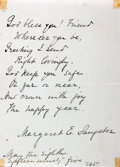"""Miscellaneous:Ephemera, Margaret Sangster Autograph Card Signed. 4.25"""" x 5.75"""". MayEighteenth, 1985. Eight line poem on friendship. Toned. Disc..."""