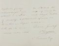 "Autographs:Authors, William Longman. Autograph Letter Signed. 9"" x 7"". November Twenty-Third, 1870. Letter regarding an upcoming publication. Li..."