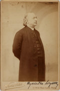 "Photography:Cabinet Photos, SIGNED Cabinet Card Portrait of Hyacinthe Loyson. 4.25"" x 6.5"".Printed date of 1870. Holograph date June seventeenth, 1892...."